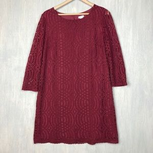 J. Crew factory Burgundy lace shift dress 12